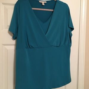 EUC JM Collection empire waist top, teal, 1X